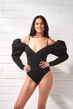 Load image into Gallery viewer, Black Nina Puff Sleeve Bodysuit