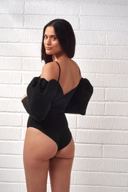 Black Nina Puff Sleeve Bodysuit
