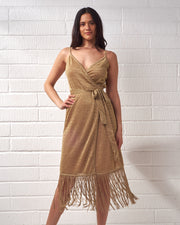 Gold Knit Wrap Fringe Dress