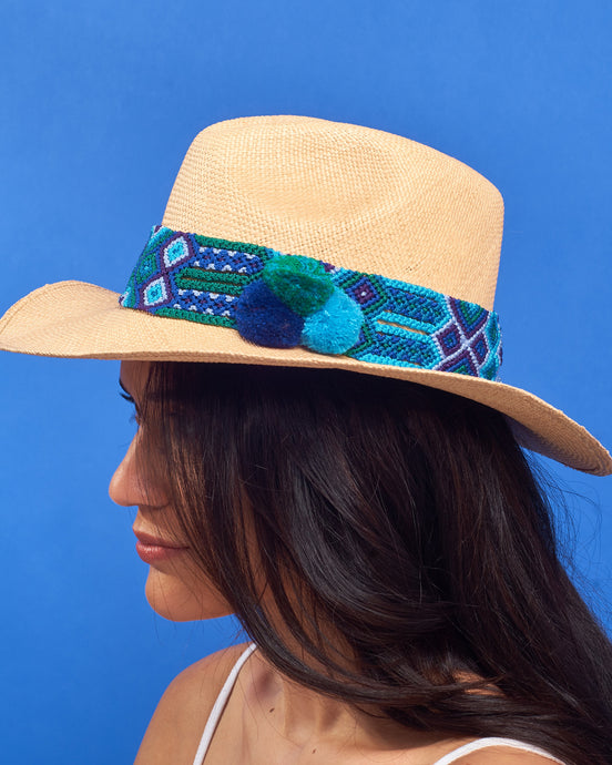 Teal, Turquoise and Blue Sand Panama Hat