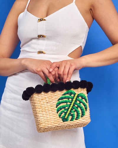 Mini Monstera Straw Bag
