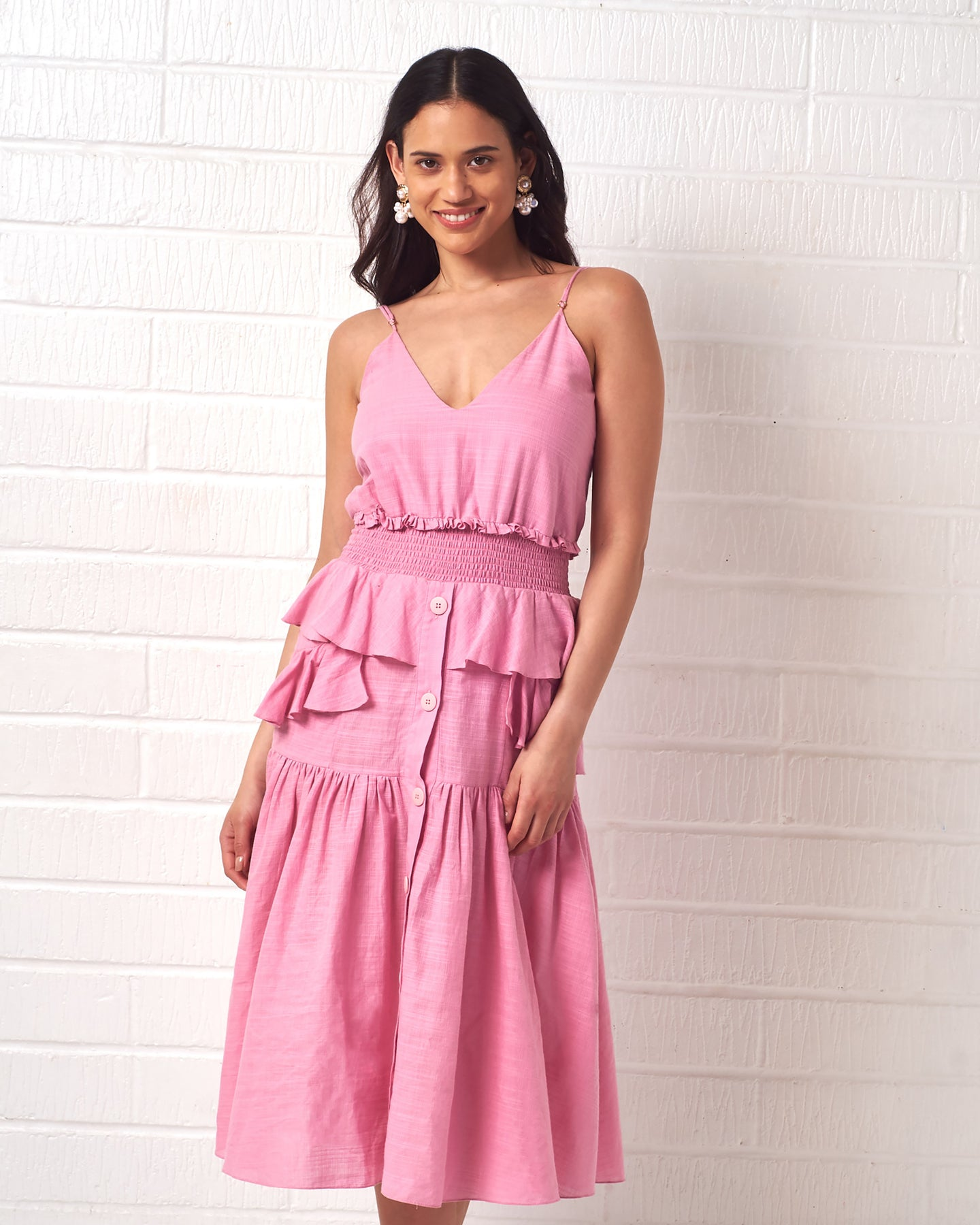 Pink Ruffle Summer Dress