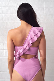 Lavender One Shoulder Ruffle Bodysuit