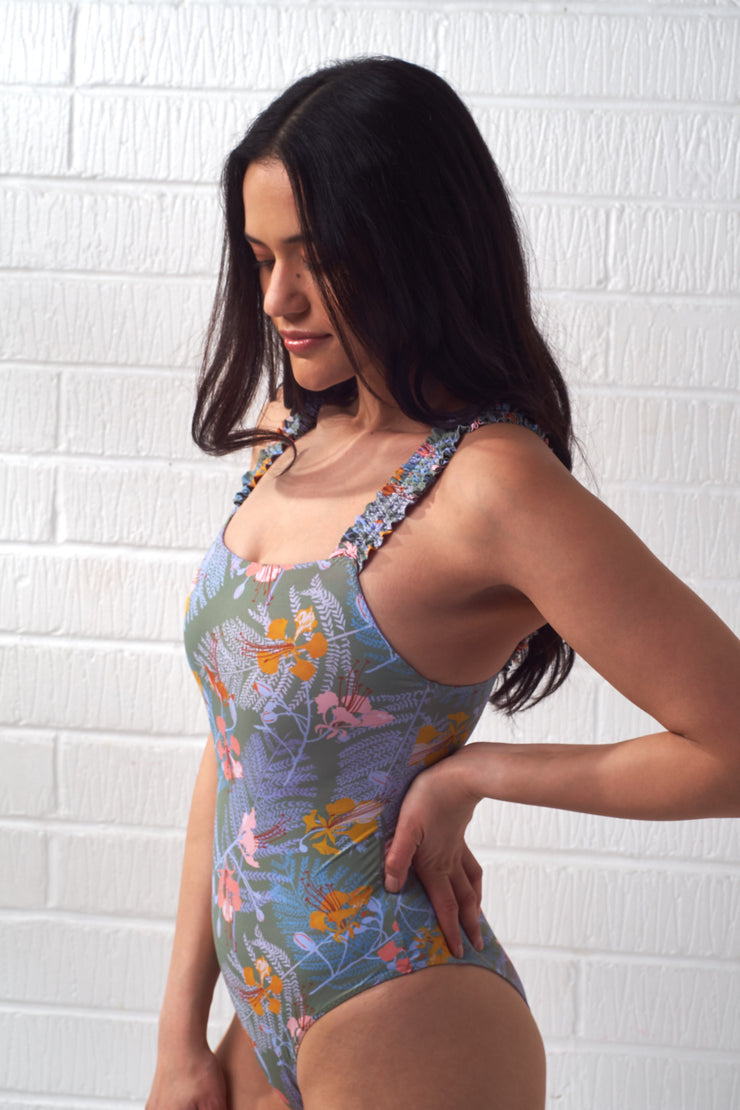 Green Hibiscus Print Swimsuit