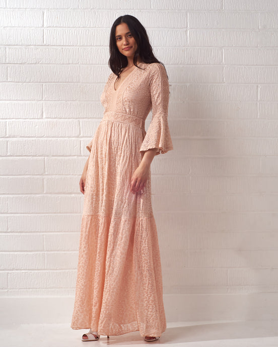 Light Pink Knitted Maxi Dress