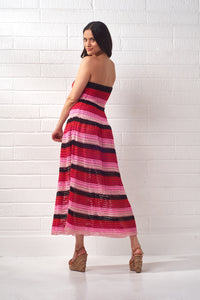 Striped Knit Bandeau Midi Dress