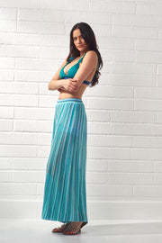 Turquoise Striped Knit Trousers