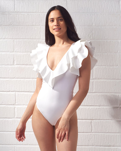 Off White Santa Ruffle Bodysuit