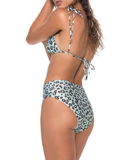 Mint Leopard Triangle Bikini Top