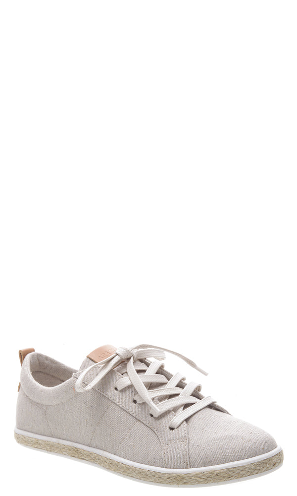 AREZZO | BLAIZ | Stone Grey Beige Canvas Sneakers Raffia Trainers