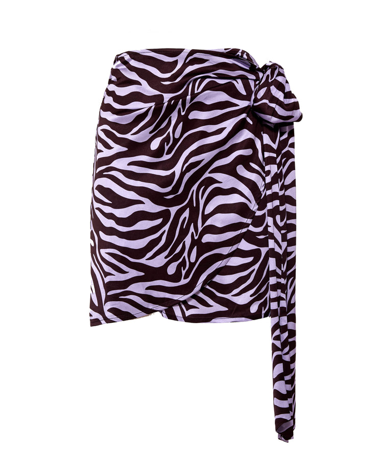 Camilla Zebra Wrap Mini Skirt