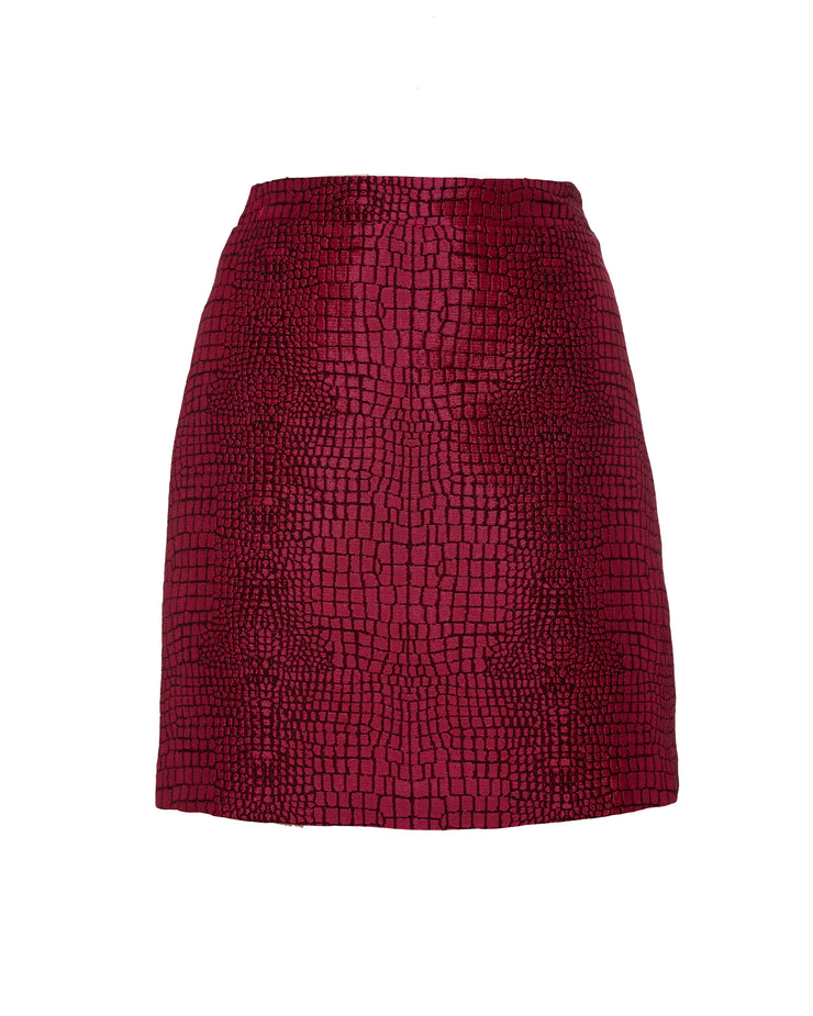 Fuschia Croco Mini Skirt