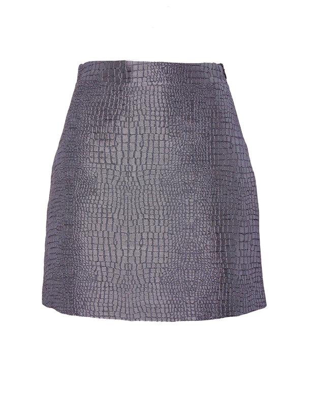 ANDAMANE | BLAIZ | Grey Croco Mini Skirt