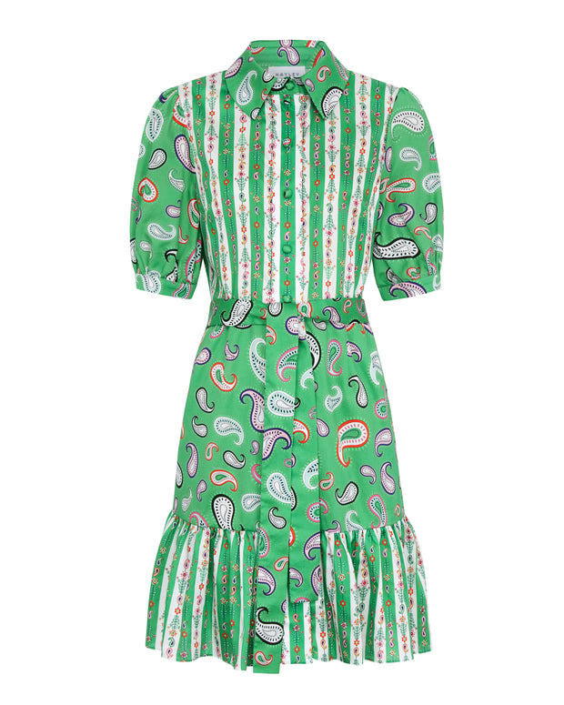 Green Paisley Shirt Dress