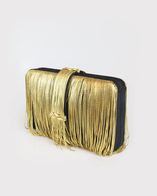 Black & Gold Fringe Clutch