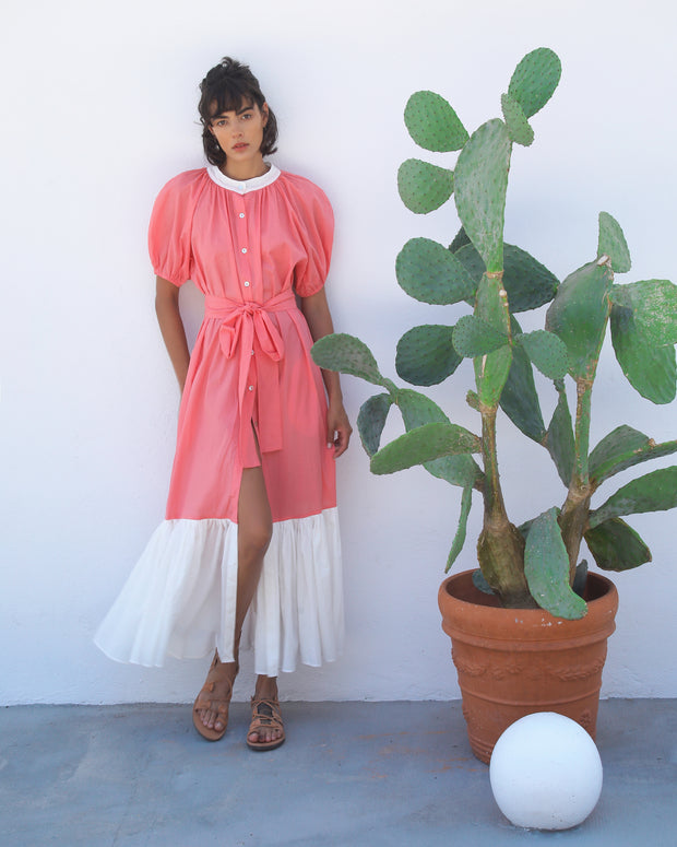 Coral Cleo Shirt Dress