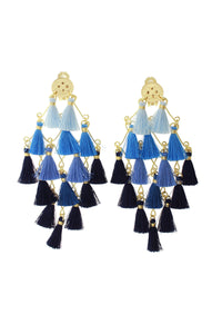 Large Blue Diamond Tassel Earrings