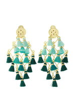 Load image into Gallery viewer, Teal Diamond Tassel Earrings