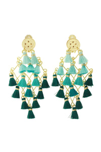 Teal Diamond Tassel Earrings