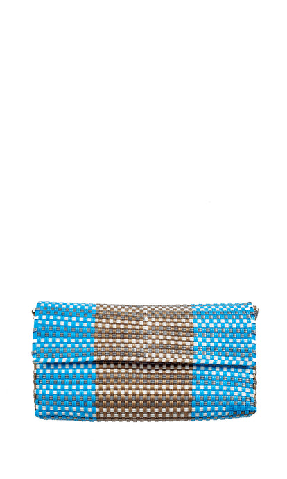 Turquoise, Gold & White Clutch Bag