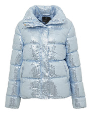 Light Blue Sequin Puff Jacket