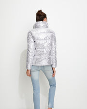 Silver Sequin Puff Jacket