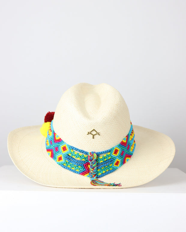 Red, Turquoise and Yellow Sand Panama Hat