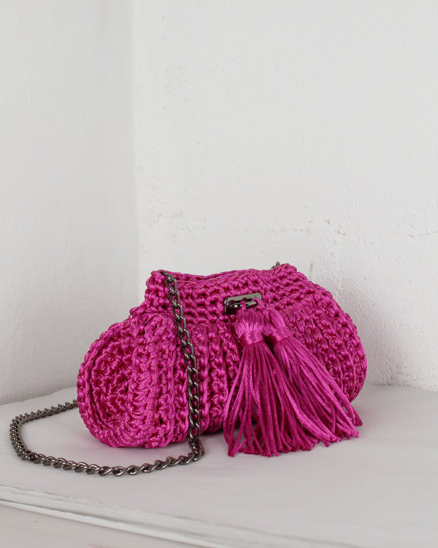 Pink Crochet Cross-Body Bag