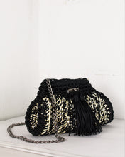 Load image into Gallery viewer, Black & Cream Woven Shoulder Bag