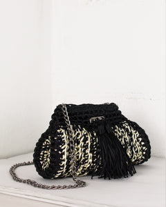 Black & Cream Woven Shoulder Bag