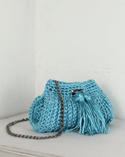 Aqua Crochet Cross-Body Bag