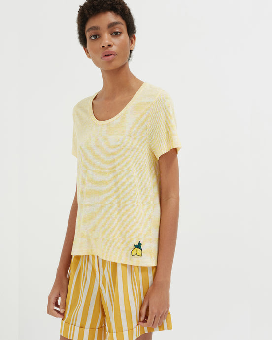 Yellow Striped Linen T-Shirt