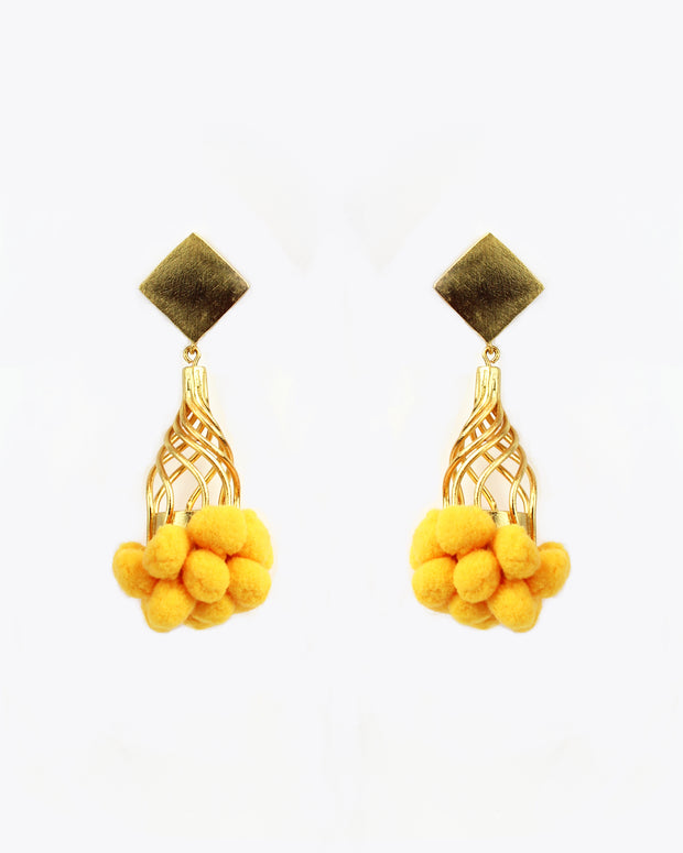 Yellow Tutu Pom Pom Earrings