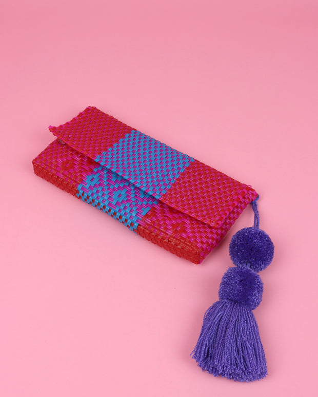 Pink, Blue & Red Pom Pom Clutch