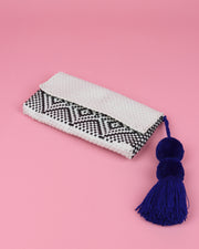 Black, White & Navy Pom Pom Clutch