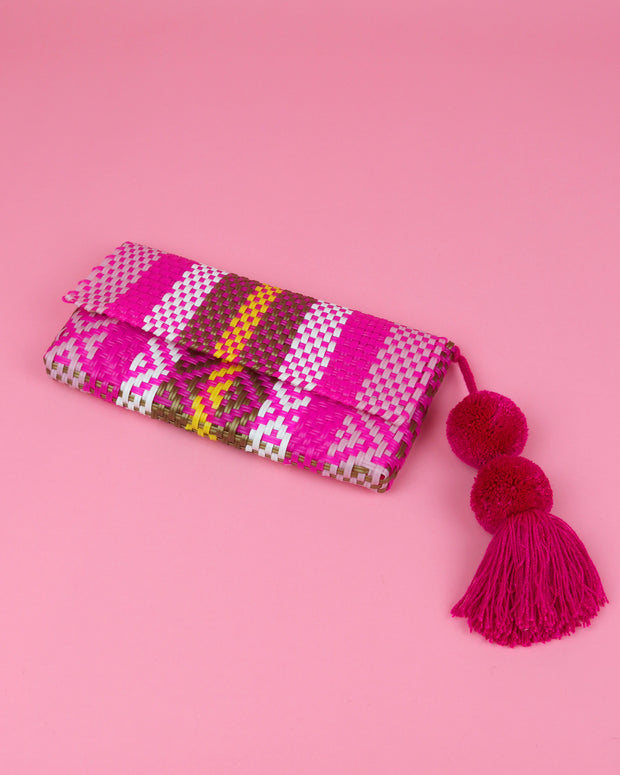 Pink, Gold & Yellow Pom Pom Clutch