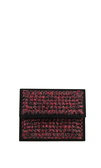 Black & Red Sparkly Knit Acrylic Clutch