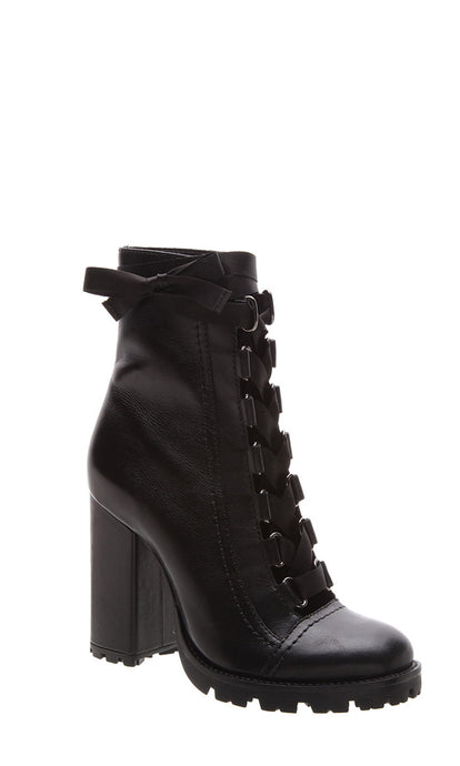 Black Leather Lace-Up High Heeled Boots