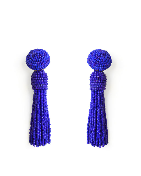 Cobalt Blue Tassel Earrings