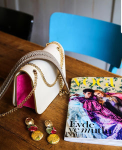 Ecru & Pink Chain Shoulder Bag
