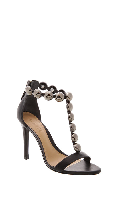 Chrome Stud Black Strappy Heels