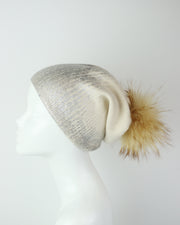 BLAIZ | 227 | Cream & Silver Metallic Wool Pom Pom Hat