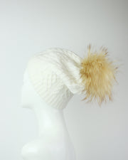 227 | BLAIZ | White Pom Pom Cable Knit Winter Hat