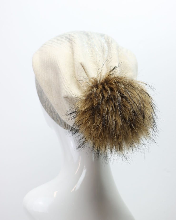 Cream & Silver Metallic Dark Pom Pom Hat