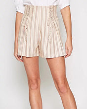 Load image into Gallery viewer, Peach Cream Pinstripe Shorts