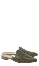 Load image into Gallery viewer, Army Green Raffia Pointed Flat Mules
