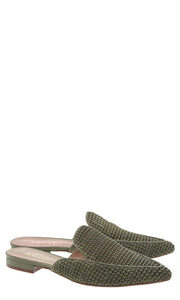 Army Green Raffia Pointed Flat Mules