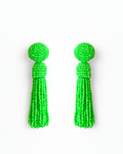 Load image into Gallery viewer, Neon Green Tassel Earrings