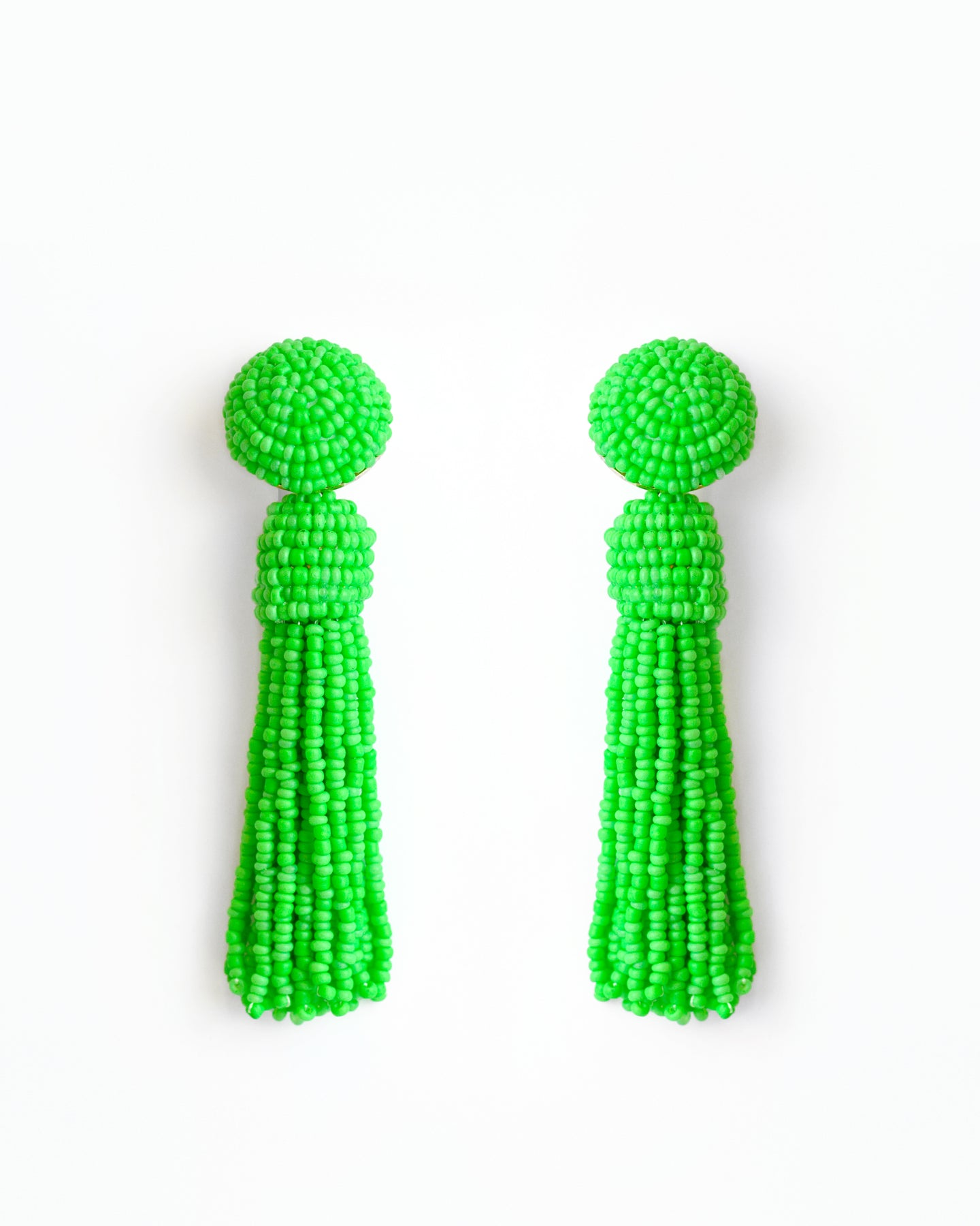 Neon Green Tassel Earrings