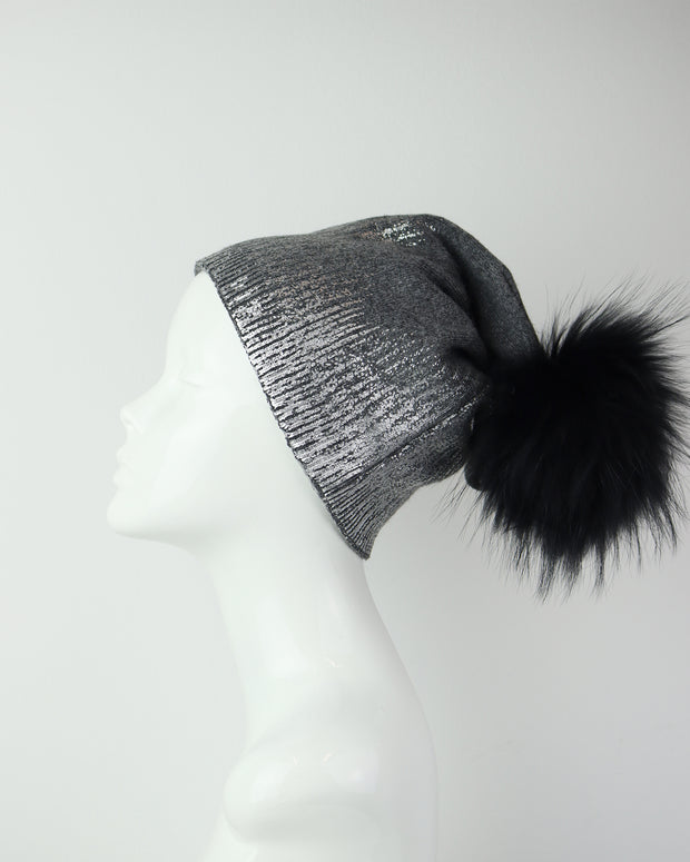 BLAIZ | 227 | Grey & Silver Metallic Wool Pom Pom Hat